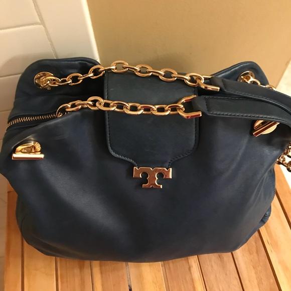 10c7e4dcb2fa Tory Burch Blue leather satchel bag w  gold straps.  M 5a4aeb6da825a6a2ef06bd0f